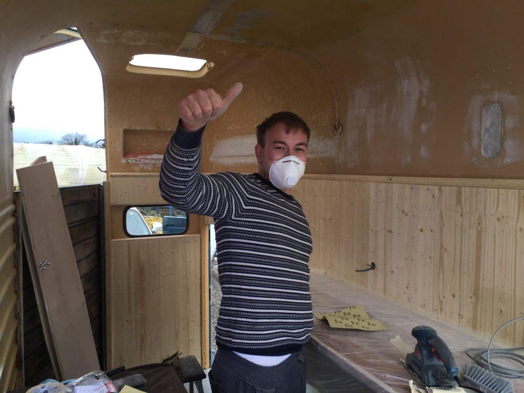 Sanding the walls
